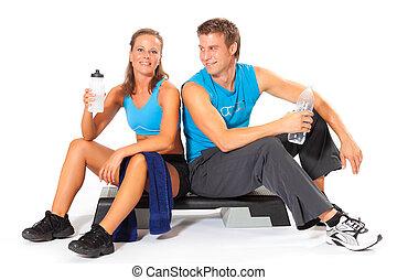 séance entraînement, crise, couple, après, coupure, séance, prendre