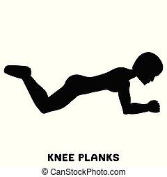 séance entraînement, exersice., silhouettes, femme, genou, planks., training., sport, exercise.
