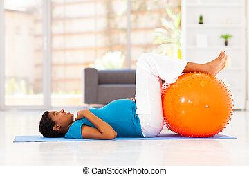 séance entraînement, femme, pregnant, africaine