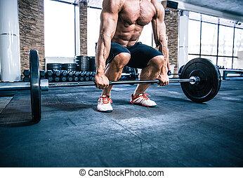 séance entraînement, homme, musculaire, barre disques