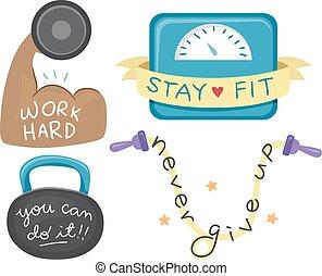 séance entraînement, motivation, éléments, illustration