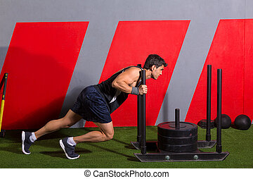 séance entraînement, Pousser, Traîneau, poids, poussée,...