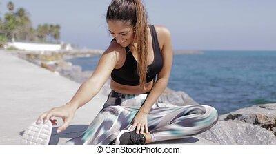 séance entraînement, rivage, contenu, apprécier, femme