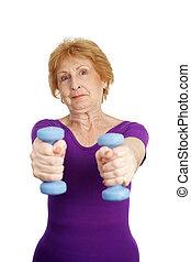 séance entraînement, sceptique, -, personne agee