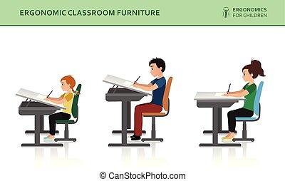 séance, ergonomic., pose, correct, mal, enfants