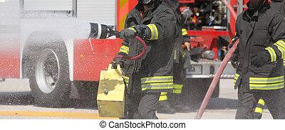 séance, extincteur, brûler, pratique, station, pompiers, pendant