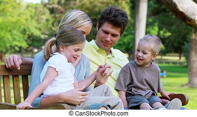 séance, famille, banc