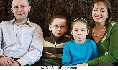 séance, famille, divan