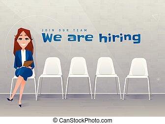 séance, femme affaires, recruitment., jeune, humain, entrevue, chaise, ressources