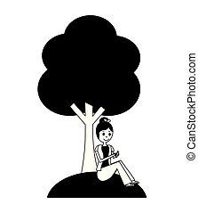 séance femme, arbre, téléphone, sous, utilisation