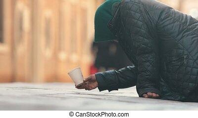 séance femme, argent, mendiant, rue, sdf
