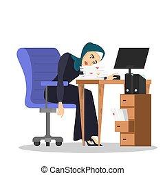 séance femme, beaucoup, travail, desk., musulman, fatigué