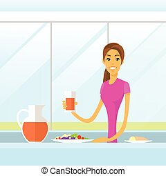 séance femme, boisson, matin, jus, avoir, cuisine