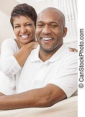 séance femme, couple, américain, africaine, maison, heureux
