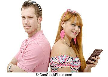 séance femme, couple, jeune, dos, téléphone, dos