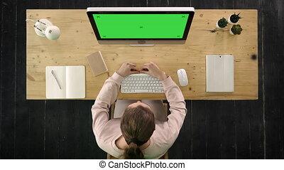 séance femme, display., écran, maquette, vert, computer., bureau, appeler, vidéo, confection