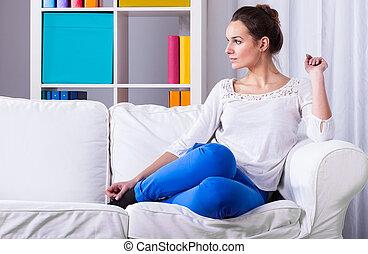 séance, femme, divan