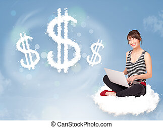 séance femme, dollar, jeune, suivant, signes, nuage