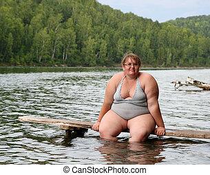 séance, femme, excès poids, étape