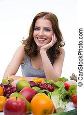 séance femme, fruits, table, portrait, sourire