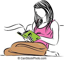 séance femme, illustration, vecteur, livre lecture