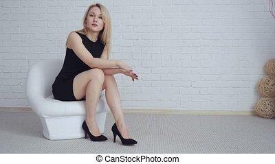 séance femme, jeune, noir, chair., blond, robe