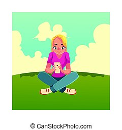 séance femme, mobile, jeune, smartphone, traversé,...