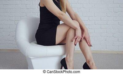 séance femme, noir, chair., sexy, robe blanche