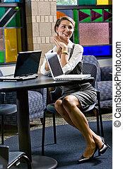 séance femme, ordinateur portable, jeune, informatique, table