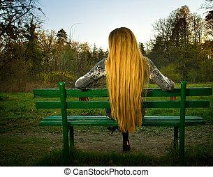 séance femme, parc, dos, banc, seul