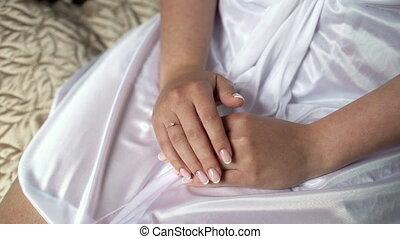 séance, femme, peignoir, girl, mains, blanc
