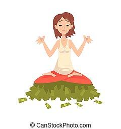 séance femme, réussi, argent, méditer, chanceux, illustration, jeune, quoique, vecteur, tas, riche, riche, girl, millionnaire