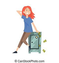 séance femme, réussi, sûr, jeune, argent, chanceux, vecteur, illustration, riche, riche, girl, heureux