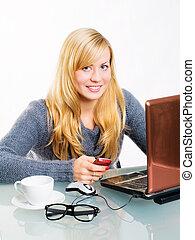 séance femme, téléphone, informatique, blonds, sourire
