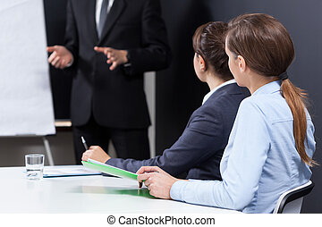 séance, femmes affaires, bureau