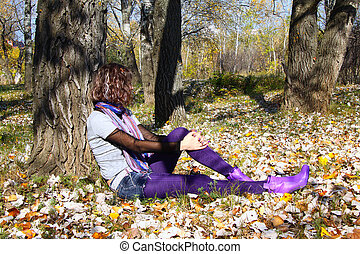 séance, feuilles, jeune, automne, automne, girl