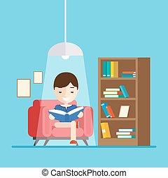 séance garçon, lit, divan, quoique, livre