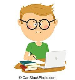 séance garçon, malheureux, nerd, livres, pupille, bureau, loptop, pile, lunettes