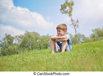 séance garçon, nature, dehors, colline verte