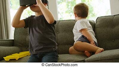 séance garçon, sofa, frère, réalité virtuelle, casque à écouteurs, quoique, 4k, utilisation