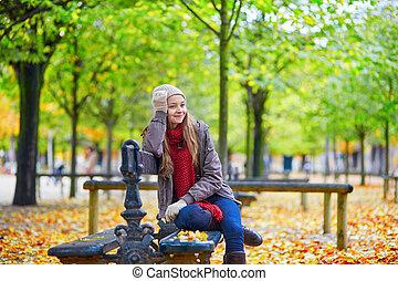 séance, garez banc, automne, girl, jour