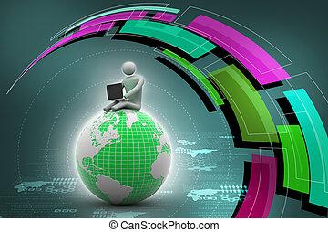 séance, globe, laptop., world., sommet, homme