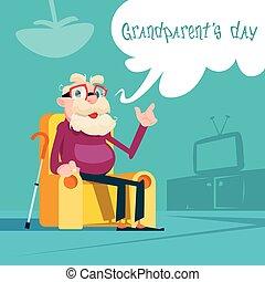 séance, grands-parents, salutation, grand-père, armhair, jour, carte