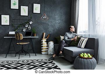 séance, hipster, divan