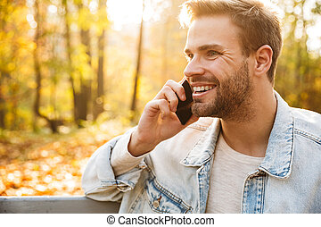 séance homme, beau, banc, parc, jeune, automne