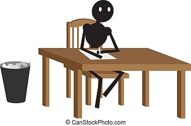 séance homme, vecteur, arrière-plan., illustration, chaise, blanc