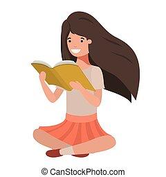 séance, jeune, livre, étudiant, lecture fille