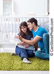 séance, jeune, nouveau né, leur, parents, bébé, moquette