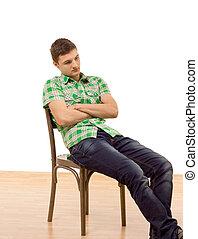 séance, jeune, s'affaissé, chaise, homme, beau