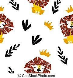 séance, lion, seamless, dessin animé, modèle, mignon